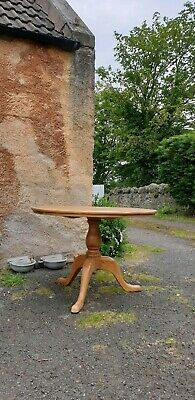 Vintage Rustic Round Solid Pine Farmhouse Dining Breakfast Table Delivery Avail