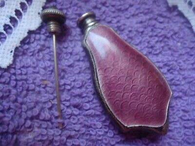 Antique/VTG Guilloche Sterling Silver Enamel Purple Perfume Scent Bottle