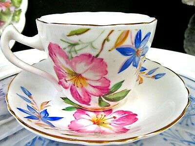 ROYAL GRAFTON tea cup and saucer painted pink azalea floral pattern teacup