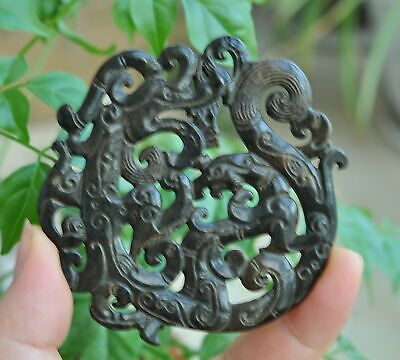 Chinese ancient old hard jade hand-carved pendant necklace~Dragon Phoenix M57