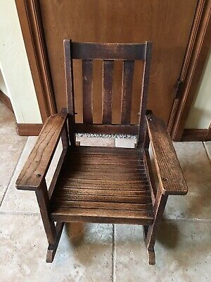 Child Mission Antique Rocker Rocking Chair Slatted Seat
