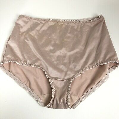 VTG Shiny SATIN Beige Pink VASSARETTE HI Thigh CUT Panties