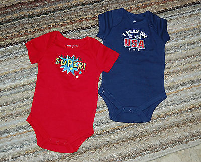 Toddler Boys Bodysuits TWO LOT Blue Team USA Red MY DAD IS SUPER 0-3 Mo Snaps *