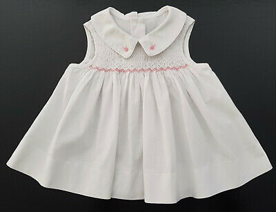 VINTAGE MOTHERCARE, SMOCKED BABY DRESS, WHITE w PINK EMBROIDERY 3 - 6 MONTHS