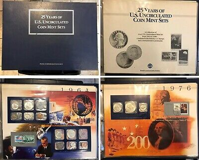25 Years Of US Uncirculated Coin Mint Sets U.S. Postal Commemorative 1964-1989