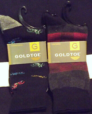 Set Of 2 Men's Novelty Socks Goldtone Motorcycles & Check Crew New With Tags