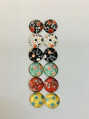 6 Pairs Of 12mm Glass Cabochons #1039