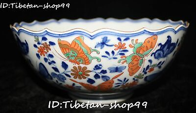 "8"" Rare China Wucai Porcelain Qing Dynasty Butterfly Flower Bowl Pot Statue"