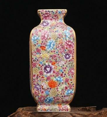 chinese old porcelain hand-painted Colored enamel flowers pattern vase 0501