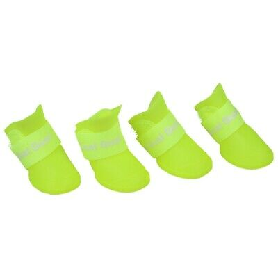 Fluorescent yellow S, Pet Shoes Booties Rubber Dog Waterproof Rain Boots H1N2 PV
