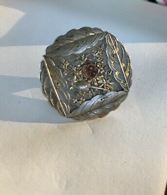 Antique Japanese Shakudo? Button Early 1900's Signed