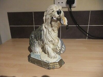 Rare Vintage Dulux Paint Dog Old English Sheep Dog Cast Iron Metal Doorstop 9""