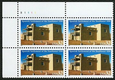 #3220 32c Spanish Settlement of SW, Plate Blk [B1111 UL], Mint ANY 4=FREE SHIP