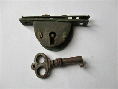 small antique box lock for writing slope,with ornate working key, hasp,