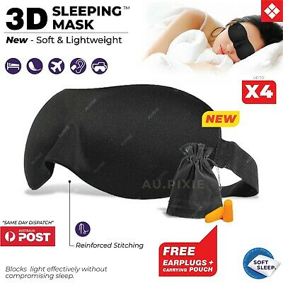 3D Sleeping Eye Mask Blindfold Sleep Travel Shade Relax Cover Light Blinder 💤