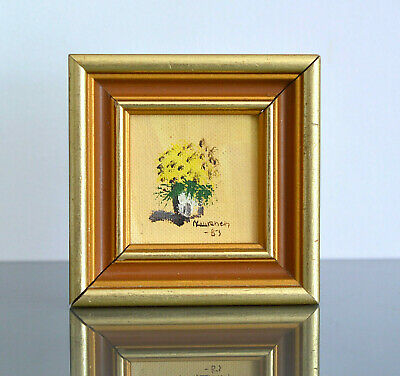 Scandinavian Impressionism Yellow Flowers Framed Miniature Oil Painting Signed