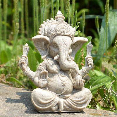Ganesha Elephant God ZEN Decoration Resin Sandstone Yoga Meditation Sculpture