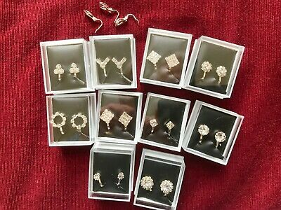 JOBLOT-10 pairs of different styles crystal CLIP ON diamante earrings.UK made.