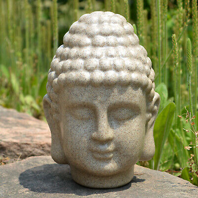 Fengshui Buddha Head ZEN Decoration Resin Sandstone Yoga Meditation Sculpture