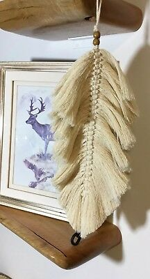 Macrame Feather Wall Hanging Beige