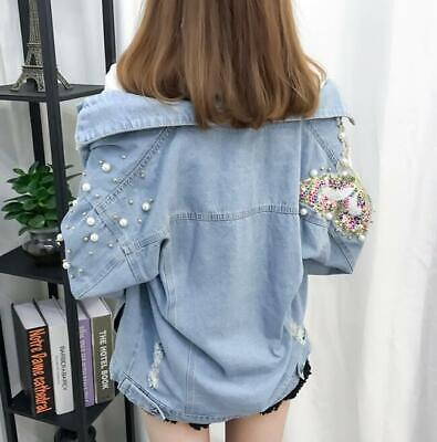 Womens Ladies Sequin Ripped Hole Beaded Denim Jeans Loose Jacket Coat Outwear