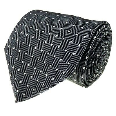 MARKS & SPENCER Mens Tie Italian 100% Silk Grey Geometric Design