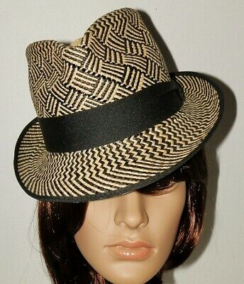 7f812022b WOVEN STRAW FEDORA Hat With Aztec Band - $19.99 | PicClick