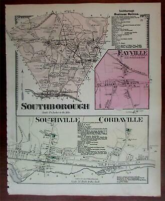 Southborough downtown Fayville Cordaville 1870 Worcester Co. Mass. detailed map