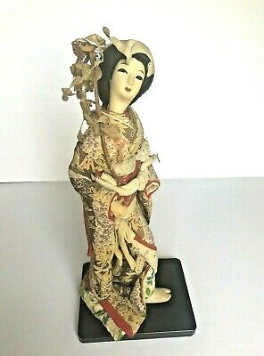 Antique Vintage Japanese Lady with Silk Skin BEAUTIFUL Kimono Geisha Doll