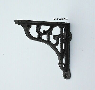 "Pair Of Large Victorian Scroll Antique Style Cast Iron Shelf Brackets 6"" Deep"