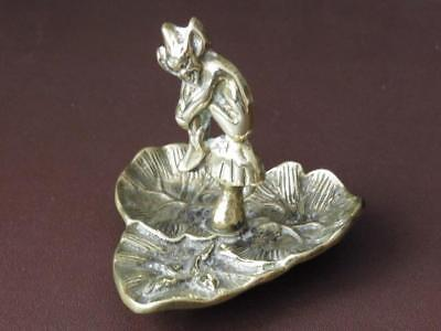 Antique Solid Brass Pixie On A Toadstool Pin Dish, 1930's Pin Dish, Brassware
