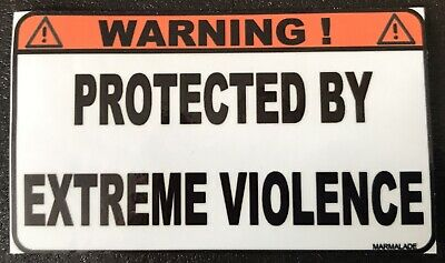 CAUTION PROTECTED BY EXTREME VIOLENCE biker embroidery patch