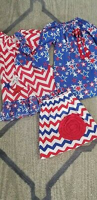 Fun & Patriotic Girl Lot (red, white, blue,) of 2 dresses and 1 skirt sizes 5/6