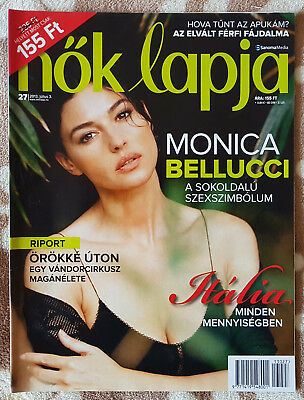 Monica Bellucci on front cover & article page Hungarian Magazine, July 2013.