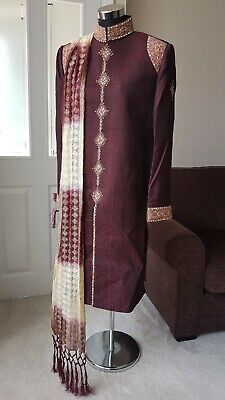 Sherwani Wedding Maroon Red Cream Gold Silver Groom Asian Scarf