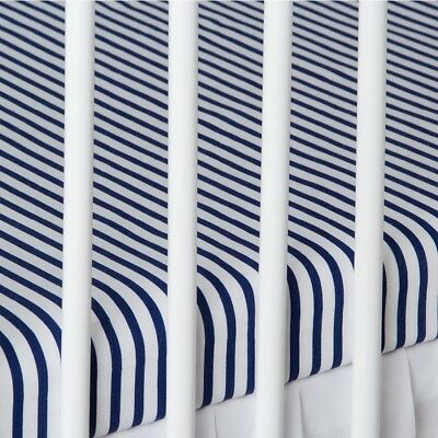 2 x COT BED FITTED SHEET navy stripes 60x120 cm 70x140 cm PURE COTTON