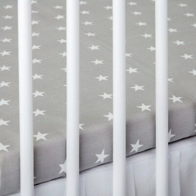2 x COT BED FITTED SHEET grey stars 60x120 cm 70x140 cm PURE COTTON