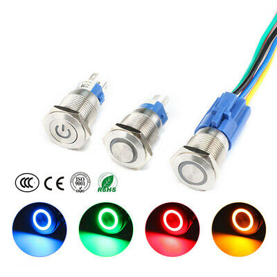 16mm 6V/12V/24V/220V Car Boat Instrument LED Metal Waterproof Push Button Switch