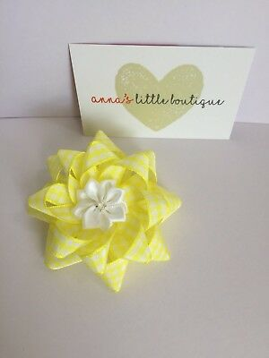 "yellow and white gingham school girls flower hair bow handmade 3"" flower centre"