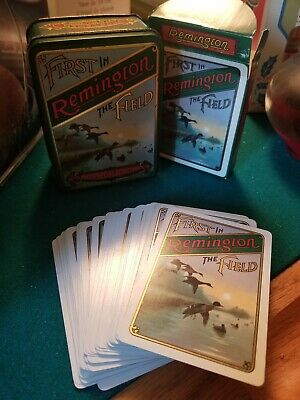 Vintage Antique Remington Tin with 2 Sets of Playing Cards
