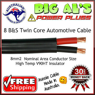6 metre x 8 B&S Twin Core, Sheath Automotive Auto Dual Battery Cable Wire 12v m