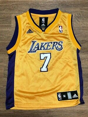Rare Lamar Odom Adidas Youth M Lakers Jersey NBA Gold