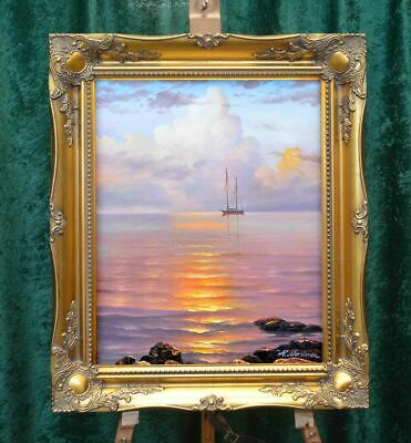 "Listed ""Portrait Of Old Usa Tall Ship I"" Hand Painted Painting Museum Q Framed"