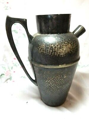 Pitcher Derby S P Co International Silver Silver plate Hand Hammered WM Mounts