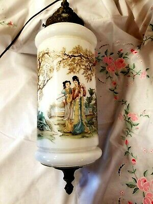 Rare Vintage Mid Century Asian Painted  Glass Hanging Swag Lamp/Light