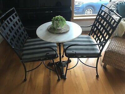 Marble  French Privincial Vintage Style Wrought Iron  Table & 2 Aluminium Chairs