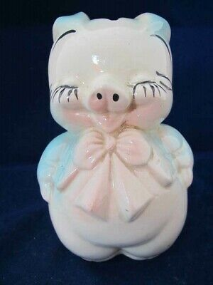 Vintage Shawnee Ceramic Smiley Pig Bank- ~5.25 Inches Tall- Made in USA