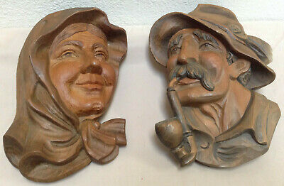 Wood Carving Man And Woman Human Face Wall Hanging Figures - Very 3 Dimensional