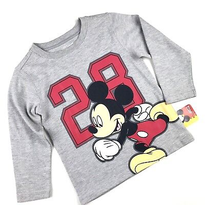 Disney Toddler Boy Size 4T Grey T Shirt Mickey Mouse Clubhouse Long Sleeve