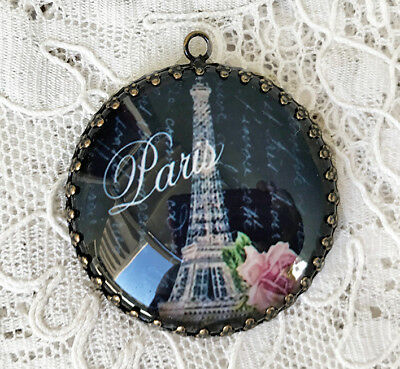 PARIS EIFFEL TOWER ~ XL ROUND 35mm PENDANT Filigree SHABBY FRENCH